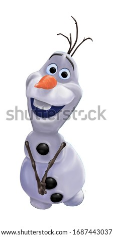Illustration of Olaf from the film Frozen, art
