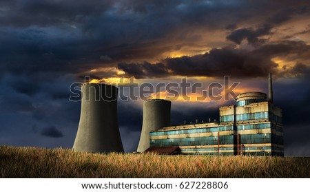 Illustration of old factory under the storm heaven with fire on the top of chimneys. 3D render.