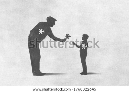 illustration of old man sacrifice for incomplete child, help concept Foto stock ©