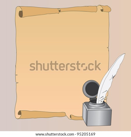 illustration of old paper with inkstand