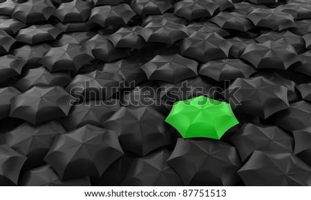 Illustration of one green umbrella among many dark
