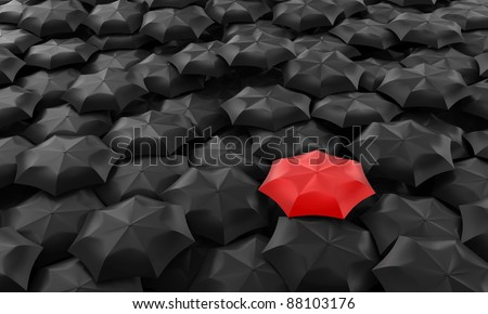 Illustration of one red umbrella among many dark