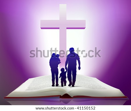 Illustration of open bible with family walking towards cross