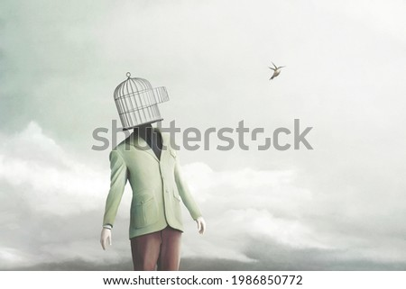Illustration of open minded person meditating, surreal abstract concept