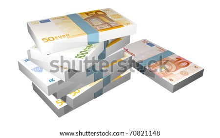 illustration of packages of euro notes