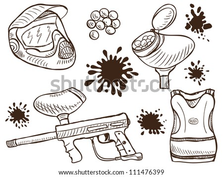 Illustration of paintball equipment and splash  - doodle style