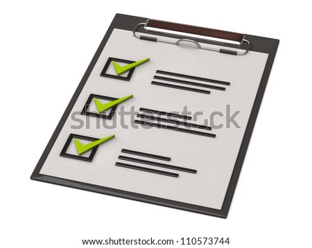 Illustration of paper clipboard with check list