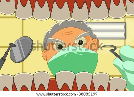 Illustration of patient and dentist who is working. - stock photo