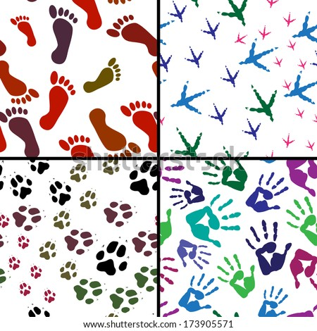 Illustration of pattern traces of animals and humans