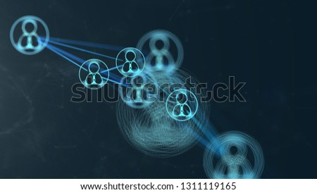 illustration of People icon Connection in 3D space Futuristic digital Abstract background for business and technology