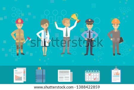 Illustration of people in various professions. Various career concepts