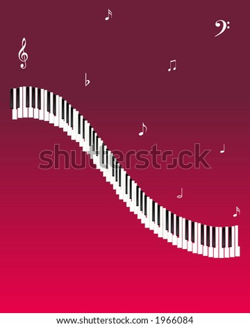 Illustration of Piano Keys and musical notes on a red background.