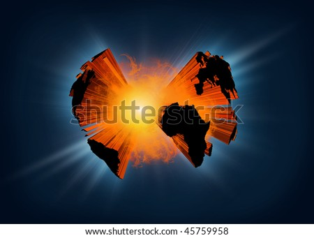Illustration of planet earth exploding in a  ball of fire