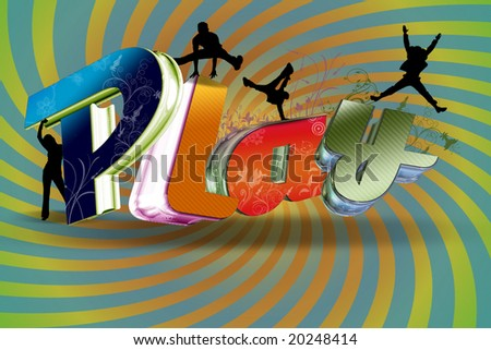 Illustration of Play with 3d text and peoples