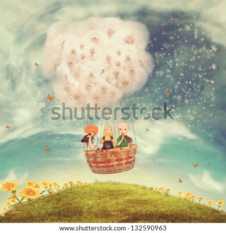 Illustration of playing children in a balloon