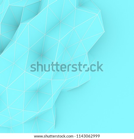 Stock Photo Illustration of polygonal triangle geometric surface. 3D render backround of low poly background with a blank space.