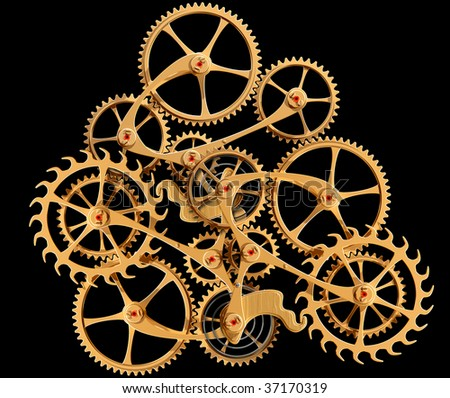 Illustration of precision engineered cogs and gears isolated on black