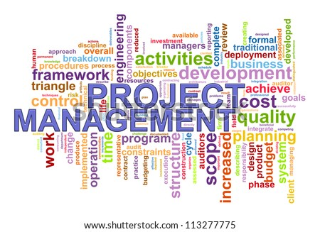 Illustration of project management wordcloud