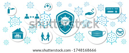 Illustration of protective measures against virus contamination on white background Stockfoto ©