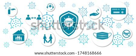 Illustration of protective measures against virus contamination on white background Stockfoto ©
