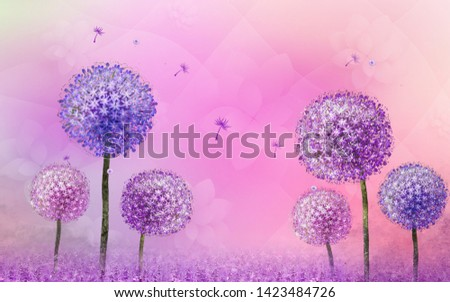 Illustration of purple flower plant over decorative pink background 3D wallpaper. Graphical poster modern art