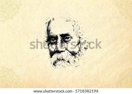 Illustration of Rabindra Jayanti is on old paper with annually celebrated cultural festival, prevalent among Bengalis around the world, in the remembrance of Rabindranath Tagore's birthday anniversary