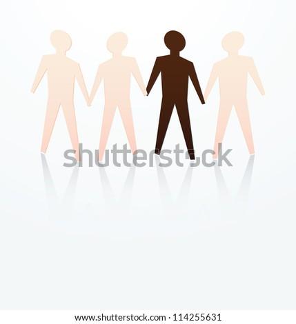 illustration of race concept, dark skin among fair skin