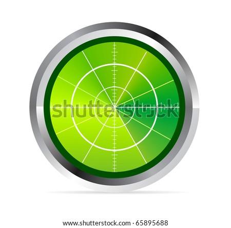 Illustration of radar or oscilloscope monitor on white - stock photo