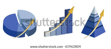 Illustration of Raising pie, pyramid and bar charts. isolated over a white background.  / Raising charts