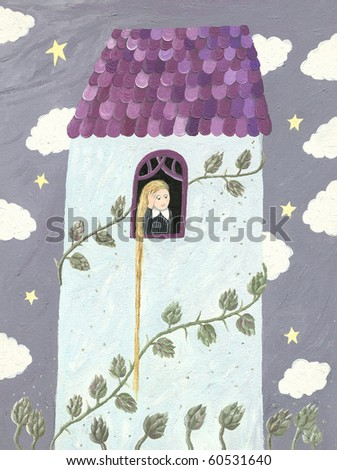 Illustration of Rapunzel or girl looking through window