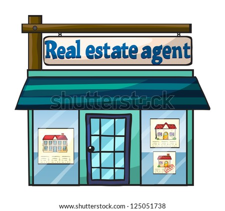 Illustration of real estate agent's office on white