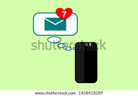 Illustration of receiving messages with the heart on the smartphone. Messaging technology. Love. Notification of 7 new files. Dialog balloons.