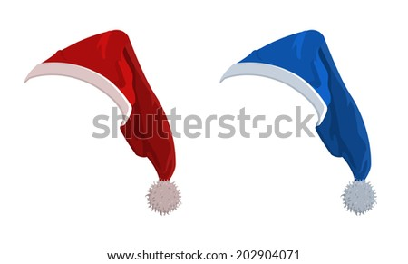 Illustration of red and blue New Year holiday hats