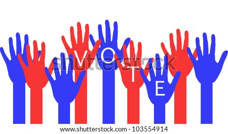 illustration of red and blue raised hands with voting message