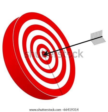 Illustration of red and white target board with arrow