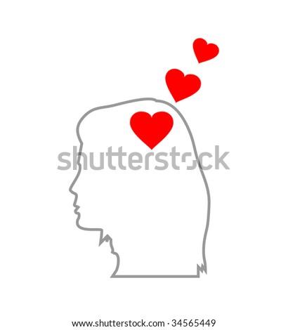 Illustration of red heart symbol in human head, (jpg)