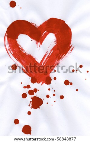 Illustration of red heart with splashing of paint around and inside it