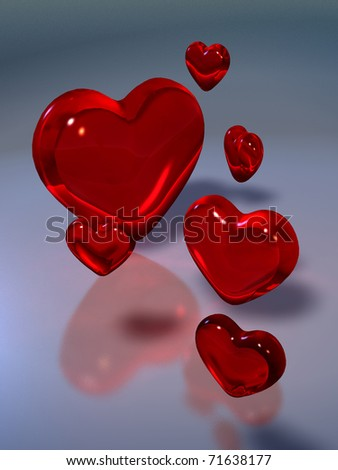 illustration of red hearts on glass bottom