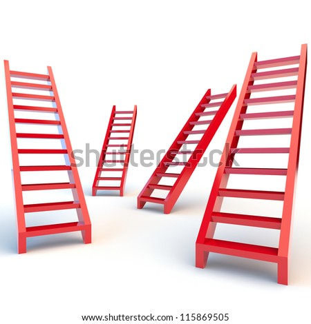 Illustration of red ladders on white background