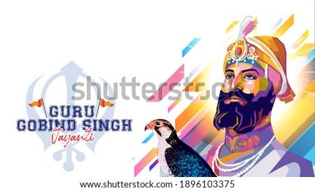 illustration of remembering the sikh Guru Gobind Singh Jayanti