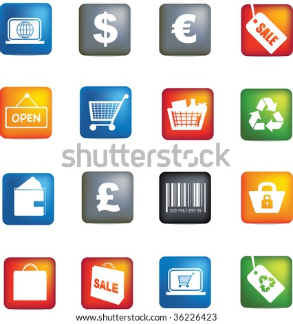 illustration of retail colored detailed icon button set