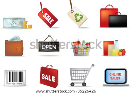 illustration of retail colored detailed icon set