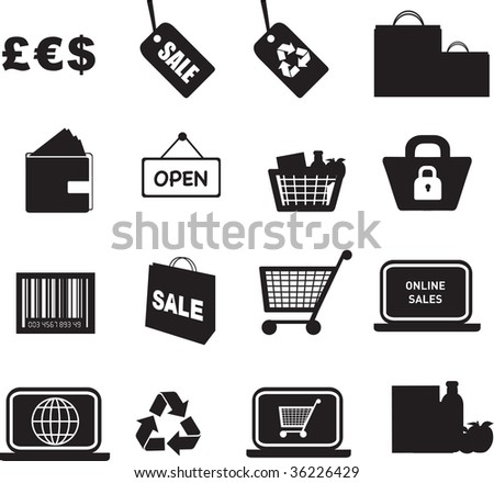 illustration of retail silhouette icon button set
