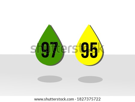 illustration of Ron 97 and Ron 95 for Malaysian petrol Foto stock ©