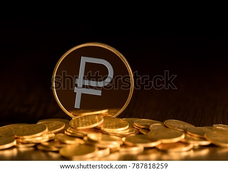 Illustration of Ruble coin on gold background to illustrate blockchain and cyber currency #787818259
