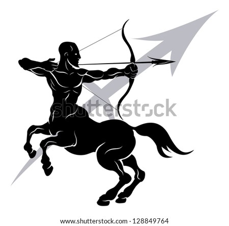 Illustration of Sagittarius the archer or centaur zodiac horoscope astrology sign
