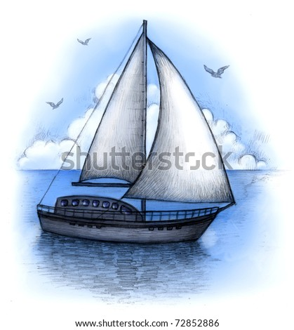 Illustration of sailing boat