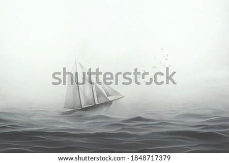 illustration of sailing ship facing the sea