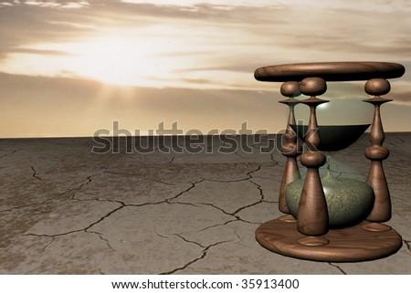 illustration of sand clocks in desert, over sky