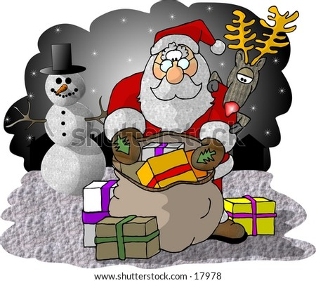 Illustration of Santa Claus checking his bag of gifts with Rudolf and a snowman looking on.